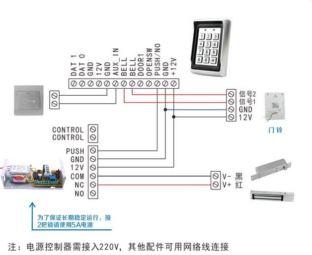 微细智能-门禁电插锁接线图/门禁磁力锁接线图片/门禁