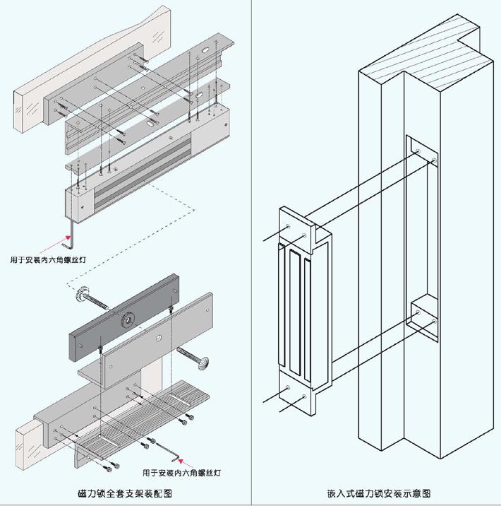 埋入式磁力锁安装图,嵌入式电磁锁